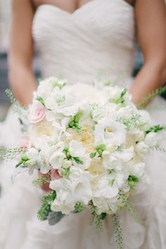 A little bit of passion to a playing-it-safe bouquet . use just a hint of color to your standard white bouquet with freesia, lisianthus, roses and greenery. White Wedding Bouquets, Bride Bouquets, Floral Wedding, Wedding Flowers, Boquet, Wedding White, White Bridal, Bouquet Wedding, Floral Bouquets