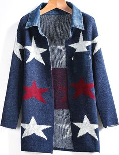 Shop Blue Long Sleeve Stars Print Cardigan online. Sheinside offers Blue Long Sleeve Stars Print Cardigan & more to fit your fashionable needs. Free Shipping Worldwide!