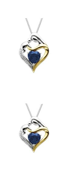 """love this>>>>  Sterling Silver and 14k Gold Heart Mom Pendant Necklace, 18""""  But my birth stone color!"""
