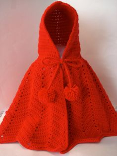 Little Red Riding Hood Crocheted Bright Red Dress Up or Everyday Cape for Little Girls in Size 24-36 Months 2T-3T