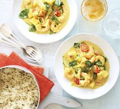 Goan prawn & coconut curry with cumin rice recipe - Recipes - BBC Good Food Prawn Coconut Curry, Prawn Curry, Fish Curry, Bbc Good Food Recipes, Indian Food Recipes, Cooking Recipes, Curry Recipes, Rice Recipes, Healthy Recipes