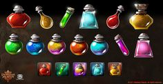 Dungeon Hunter 3 Shop Icons by Panperkin Game Gui, Game Icon, Weapon Concept Art, Game Concept, Prop Design, Game Design, Architecture Art Nouveau, Magic Bottles, Game Props