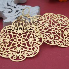 Kaleidoscope Chandelier Earrings, Gold Filigree Drop Earrings, Matte Gold Earring, Chandelier Dangle Earrings, Large Chandelier Earrings. $15.75, via Etsy.