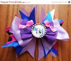 "Pony hair bow, Boutique hairbow, pinwheel bow, 5"", hair bow, twilight hairbow"