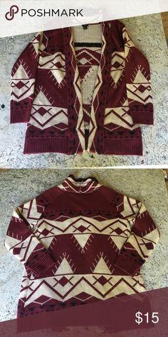 Women's Cardigan Crimson/Black/Tan cardigan, size small. Barely worn, great condition Sweaters Cardigans