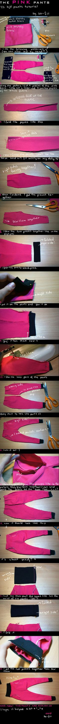 so here is the tutorial for 1/3 BJD pants^^ I didn't know what to write on it but I hope you'll understand it...X'DD download it for full size^^ you can find the pattern here: if you manage to sew ...