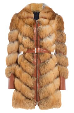 Alexander McQueen Buffalo Leather and Fox Fur Coat Alexander Mcqueen, Winter Fur Coats, Cape Jacket, Beige Coat, Fox Fur Coat, Fall Winter Outfits, Mantel, Clothes For Women, My Style