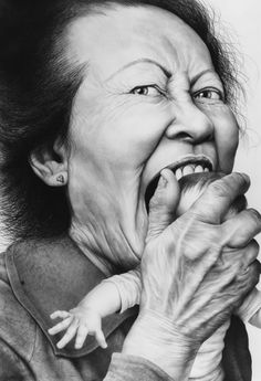 Creepy Pencil Drawing by Laurie Lipton