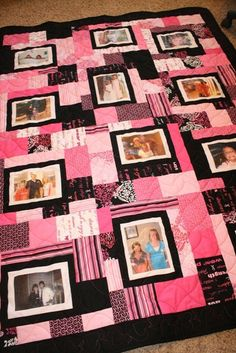 I'd love to do this with pictures from my mom and dad.  What a special gift.  Custom Picture Memory Quilt  Queen by laceymills on Etsy, $350.00