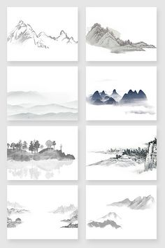 Hand-painted Chinese ink landscape painting material#pikbest#Graphic Elements Chinese Drawings, Chinese Art, Easy Watercolor, Watercolor Sketch, Chinese Background, Japan Logo, Chinese Landscape, Tinta China, China Painting