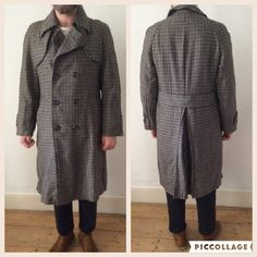 Vintage 1970s Men's Tweed Wool Trench Style Overcoat by Cabinet49