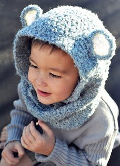 """""""Bear cowl cuteness """": This cowl was simply a crochet tube worked in the round till desired length and then attached two ears (circles) afterwards. (no specific pattern)"""