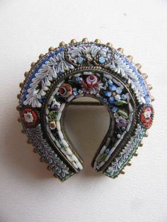 Victorian Horseshoe Brooch Micro Mosaic by victoriansentiments on Etsy https://www.etsy.com/listing/191352747/victorian-horseshoe-brooch-micro-mosaic