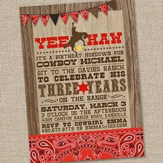 Yee Haw Cowboy Printable Birthday Party Invitation by partymonkey, $15.00    Etsy.com