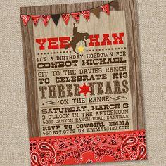 Yee Haw Cowboy Printable Birthday Party Invitation by partymonkey, $15.00    Etsy.com