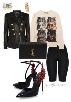 """""""By AD"""" by ashleydomenique on Polyvore featuring Gucci, Balmain and Yves Saint Laurent"""
