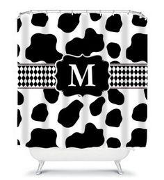 Holy Cow Print Monogram Shower Curtain By KMDesignsBG On Etsy 6800 Cowprint