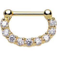 "16 Gauge 1/4"" Clear CZ Glossy Gold Anodized Titanium Septum Clicker | Body Candy Body Jewelry"