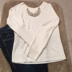 Cream long sleeve sweater This sweater would look great with almost anything this winter! You can pair it with jeans or dress it up with some black slacks and pearls! Hardly worn and in great condition Chadwicks Sweaters Crew & Scoop Necks