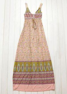 $9.11 Tiny Floral Print Bohemian V-Neck Color Block Striped Ladylike Dress For Women