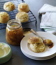 Australian Gourmet Traveller recipe for perfect scones with jam and cream.