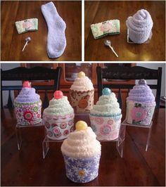 Sock cupcakes with coffee cozies and lollipops