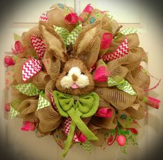 Deco Mesh Burlap Easter Bunny Wreath by WreathsbyDeSoto on Etsy, $65.00