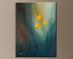 Add serenity to your home with this beautiful abstract art 'Rays of Hope'. This original abstract painting features yellow flowers under the blue sea. This piece is made from gallery wrapped canvas for a modern look.