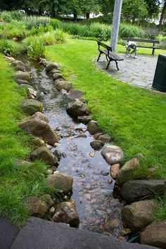 27 outrageously fun things youll want in your backyard this summer 00026 Backyard Stream, Garden Stream, Backyard Water Feature, Ponds Backyard, Water Garden, Garden Pond, Moss Garden, Garden Stones, Garden Art