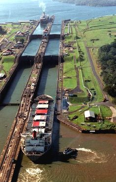 Panama Canal Locks; Panama City, Panama ~ One cannot go to Panama City without taking the opportunity to watch the ships traversing the canal through the Panama Canal Locks. In 1993, when I was in Panama, I found great fun in watching the ships enter each gate and raise to enter the successive lock.