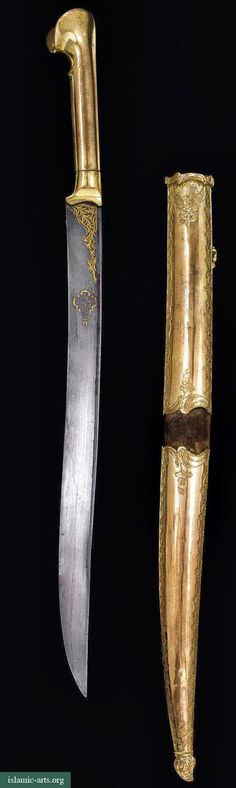 AN OTTOMAN TOMBAK SWORD (YATAGHAN) AND SCABBARD, TURKEY, LATE 18TH/EARLY 19TH CENTURY