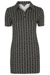 Collared Geo Print Tunic Dress