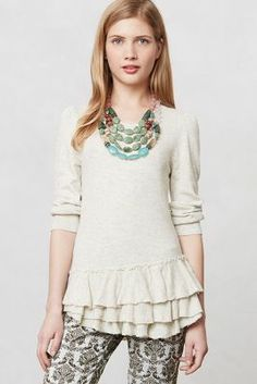 tiered and ruffled sweater / anthropologie