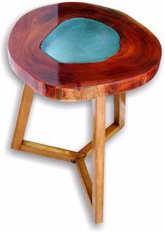 mesa lateral de apoio rústica tronco bolacha madeira
