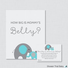 Elephant Baby Shower How Big Is Mommy's Belly by ShowerThatBaby