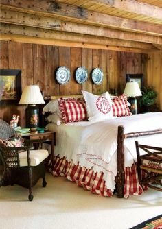 Rustic cabin bedroom at the lake house. Love the red decor. Cozy Bedroom, Bedroom Decor, Bedroom Red, Bedroom Ideas, Master Bedroom, Bedroom Rustic, Lodge Bedroom, Coziest Bedroom, Casual Bedroom