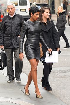 Tamron Hall ---leather fitted dress...work it girl!
