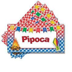 Plaquinha para Mesa Junina Pipoca - 05 unidades