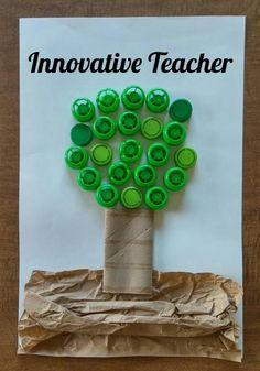"Here's a fun and easy craft that your students can do to celebrate Earth Day. This tree was created with a toilet paper roll, brown paper bag and green tops from apple sauce squeezers.  Have your students bring in their recycled products and ""reuse"" them to create a fun craft. #education"