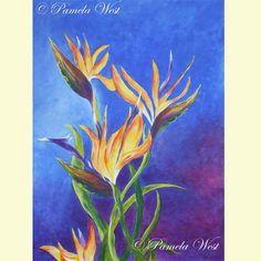 Large Acrylic painting.  Bird of Paradise plant by Pamela West £40.00
