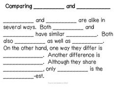 compare and contrast writing and sentence frames  compare  compare and contrast text frame  graphic organizer
