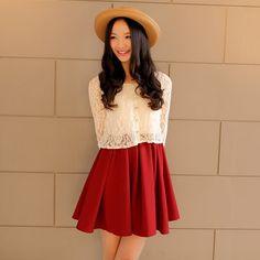 Crochet Lace Chiffon Dress