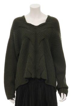 Dark Green Braided Loose Sweater