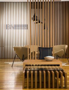 For the entry to our NYC Showroom, our logo has been applied in black to peek through the LED backlit Fortina louvers from a wall set behind them. The most interesting details in this shot reveal the multiple personalities of #Fortina, where identical Prime Teak Louvers were set at an angle to create a subtle fanning effect. See how it can be used to line the walls through ceiling to floor attachments, create a seamless separation between environments, or serve as a display table   nesting…