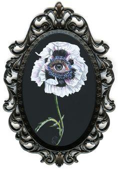 "Nightwatch ""La petite lune"" acrylic on gesso board, 2012 4 x 6 inches, 10 x 15 cm"