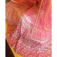 Instagram media by anitadongre - Lehenga by Anita Dongre. Crafted with dori and gottapati embroidery. #gottapati #lehenga #bridal #pink #dori #embroidery #craftsmanship
