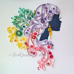 "Original Quilling Art: ""Graceful Dame"" Charismatic Lady Colourful Paper Art Wall…"
