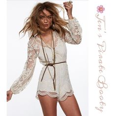 Stunning Jen's Pirate Booty Romper Feel special owning and wearing what no-one else had in this gorgeous, unique, hand drawn and created by Jen's Pirate Booty to stand out from the rest.. Fully lined, zip back closure, mesh lace with cotton embroidery.. Ultimate Bohemian style Jens Pirate Booty Pants Jumpsuits & Rompers