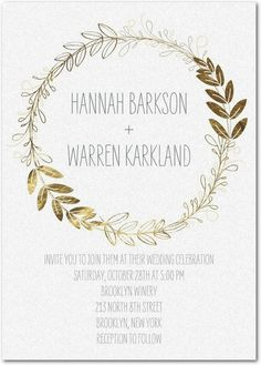 Branch Crown - Shimmer Wedding Invitations in White or Creamy Beige | Tallu-lah