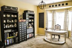 What a great desk for a bay window. this is a nice clean layout for crafts, scrapbooking or sewing. Bedroom Design, Black Wall Shelves Yellow Table: All-White Organized Craft Room Ideas